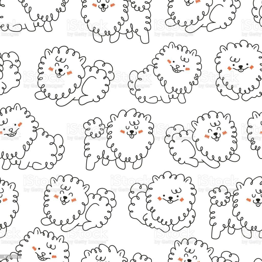 かわいい犬のシームレスなパターン手書きの動物背景ベクトル図 - お祝い