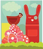 """Easter Bunny, Chicken and Painted Eggs. Illustration in the style of Patchwork."""