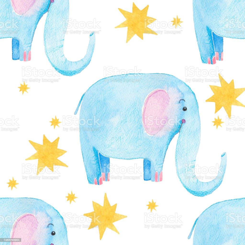 Niedlichen Elefantenmuster Nahtlose Aquarell Hintergrund Mit Blauer