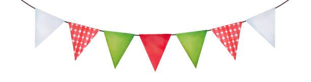 Lindo festivo empavesado colgante en colores verdes, rojos, blancos y patrón a cuadros. Acogedor estilo rústico lateral, forma del triángulo. - ilustración de arte vectorial