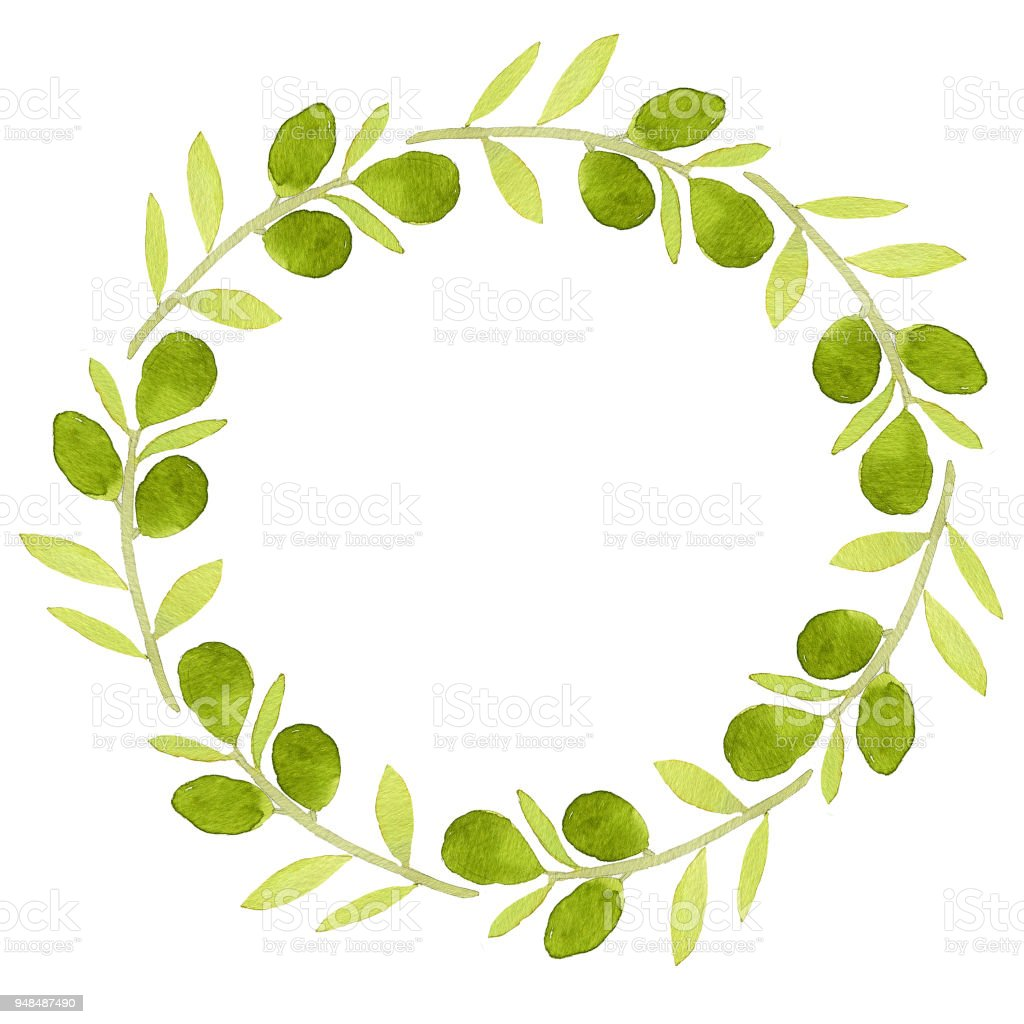 cute frame made of branch with green olives perfect for different
