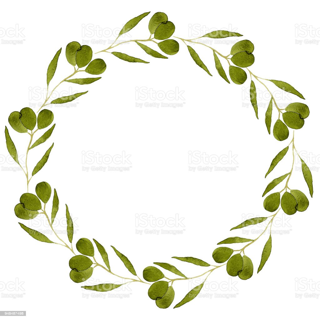 Ilustración de Marco Lindo De Rama Con Aceitunas Verdes Ideal Para ...