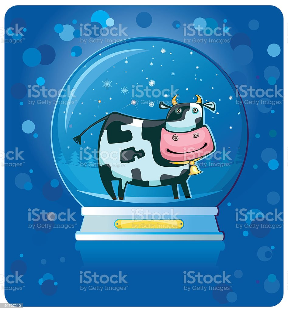 Cute friendly cow inside of the snow-dome. vector art illustration
