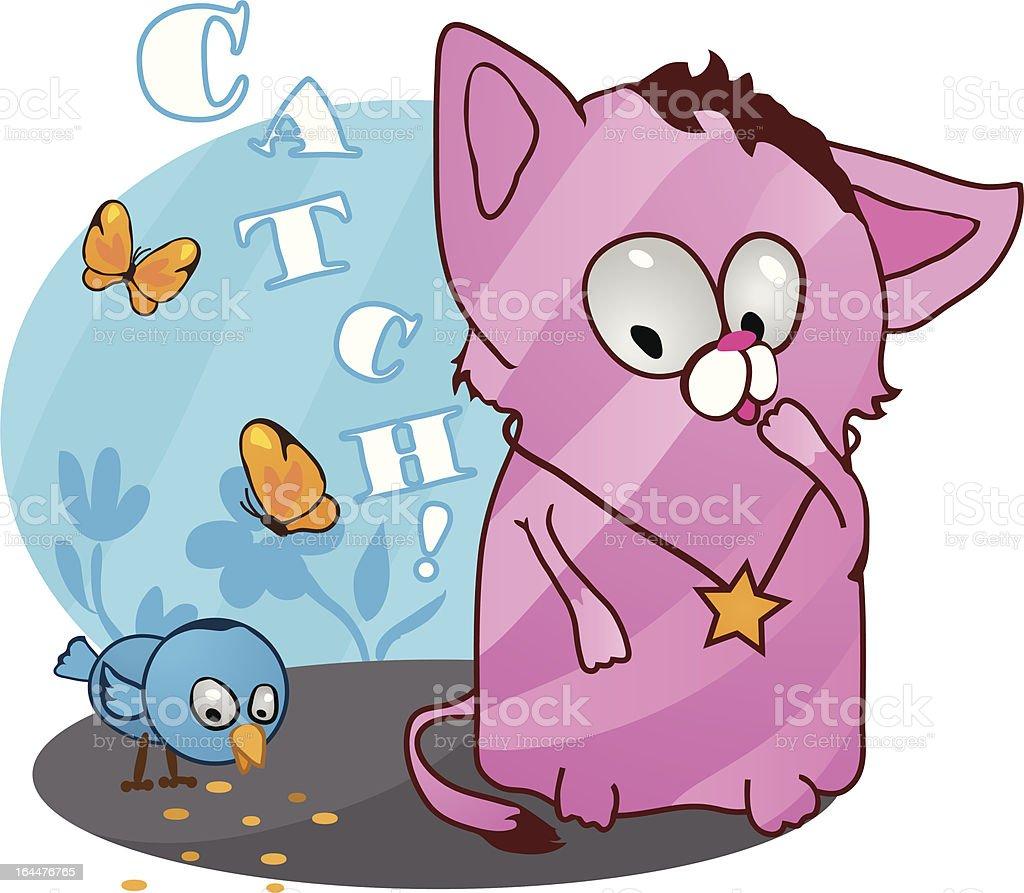 Cute funny kitten vector illustration royalty-free stock vector art