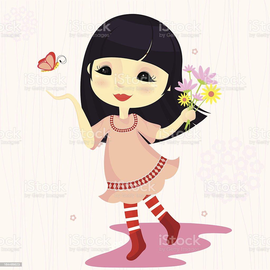 Cute girl holding flowers in pink dress vector art illustration