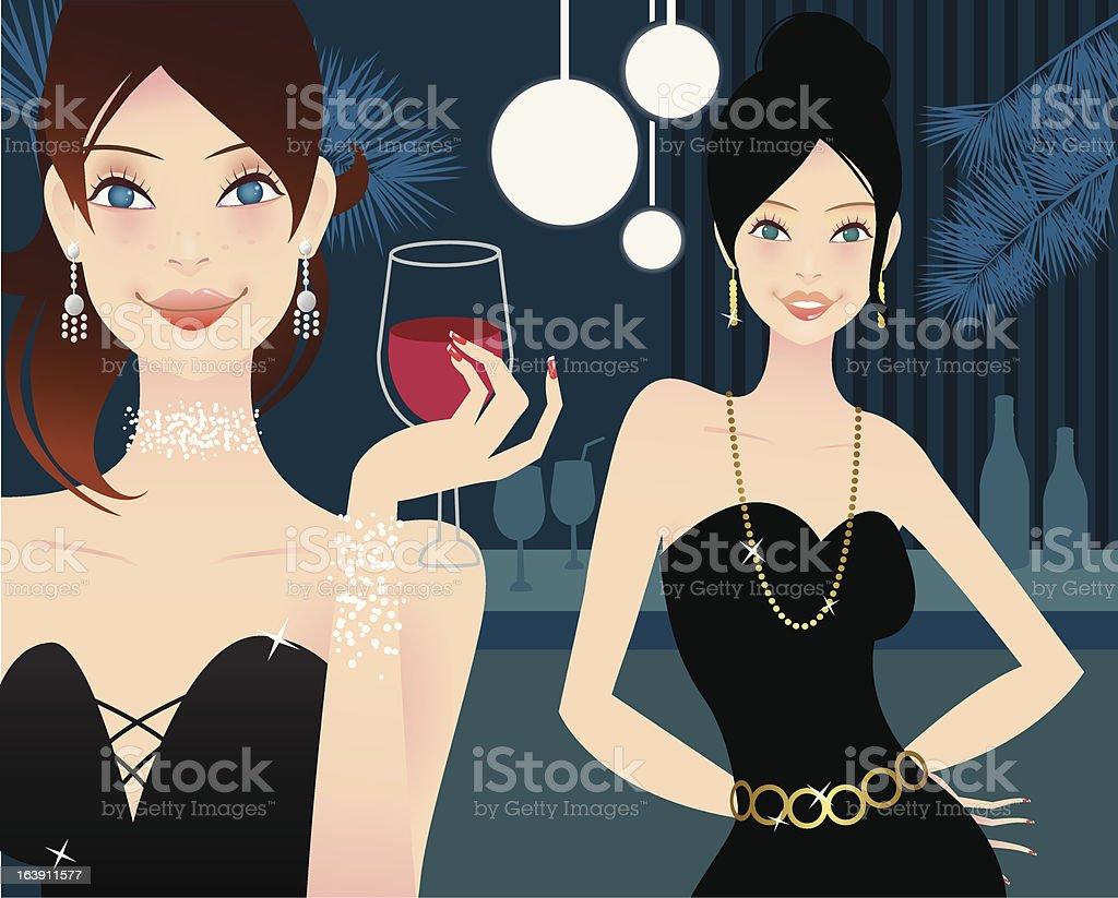 Cute girls in a bar royalty-free stock vector art