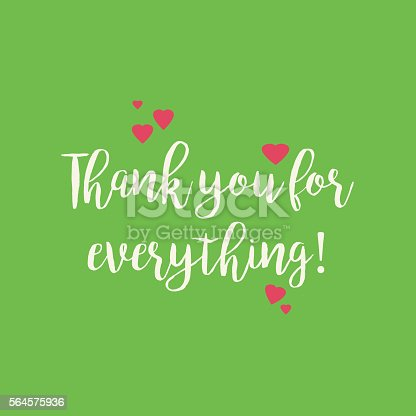 cute green thank you for everything card with pink hearts thank