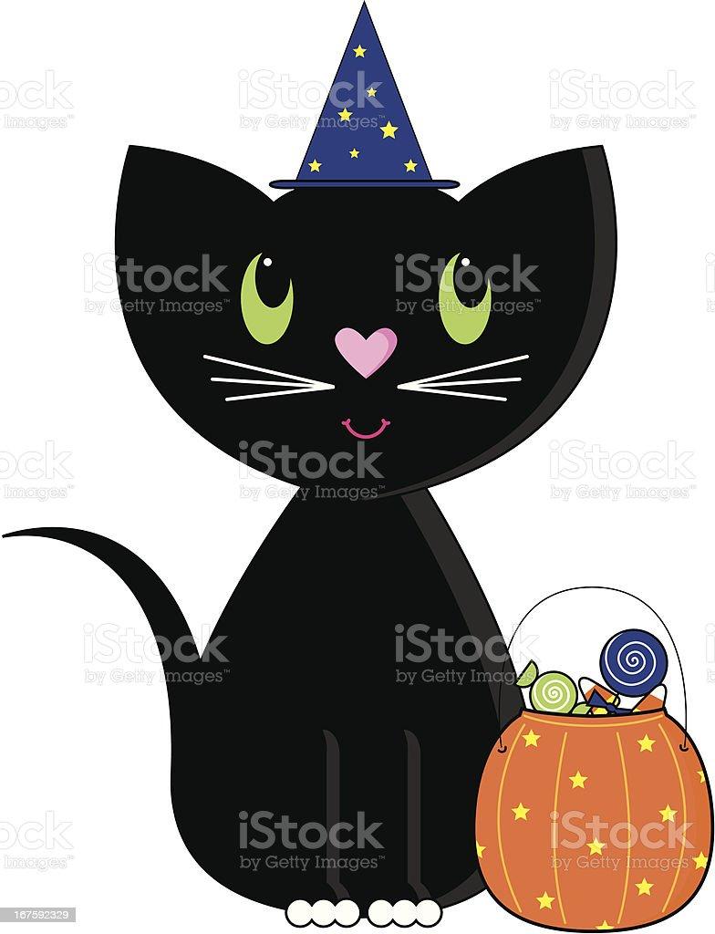 Süße Halloween Schwarze Katze Mit Trick Oder Behandlung Von ...