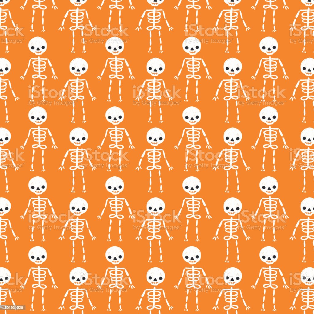Cute Halloween Skeleton Background Pattern stock vector art ...