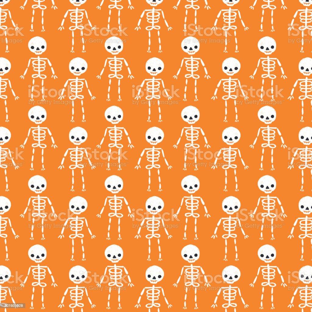 cute halloween skeleton background pattern stock vector