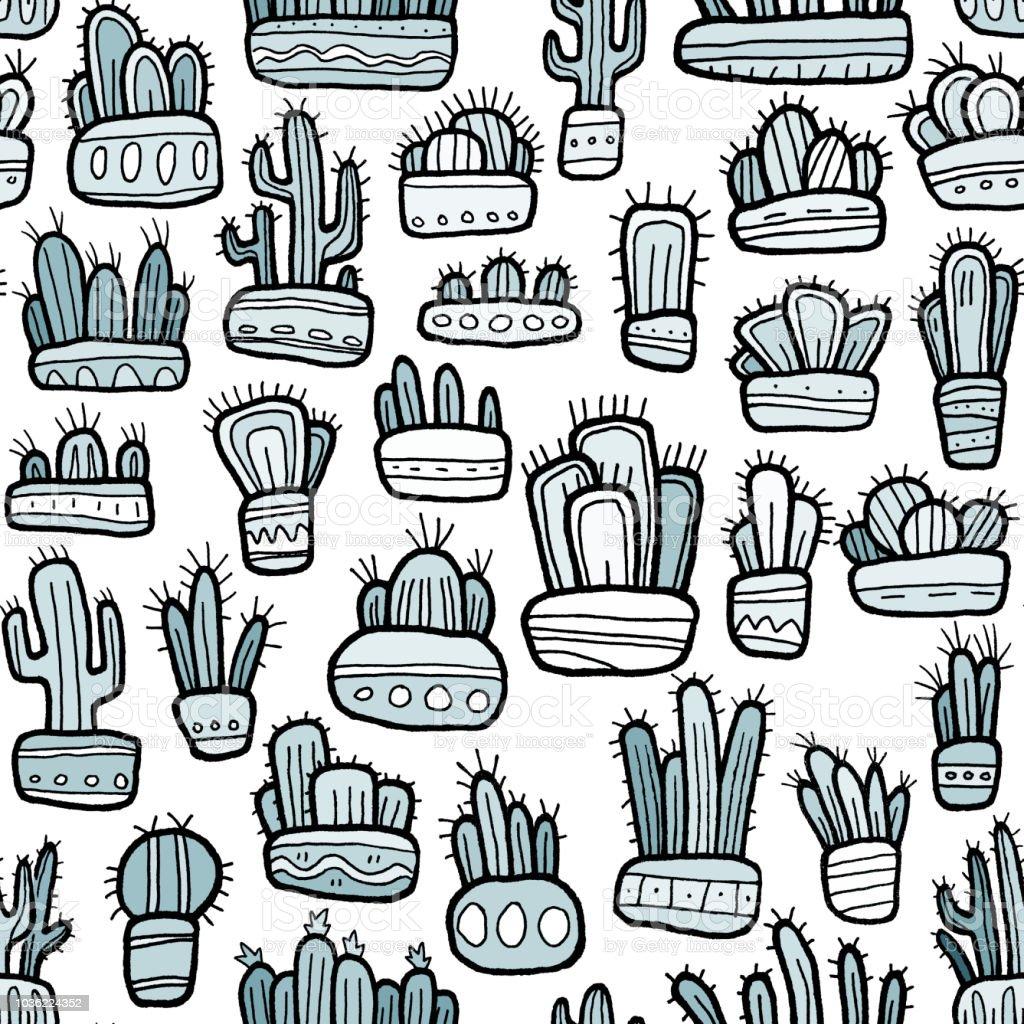Ilustración de Lindo Mano Cactus Dibujado De Patrones Sin Fisuras y ...