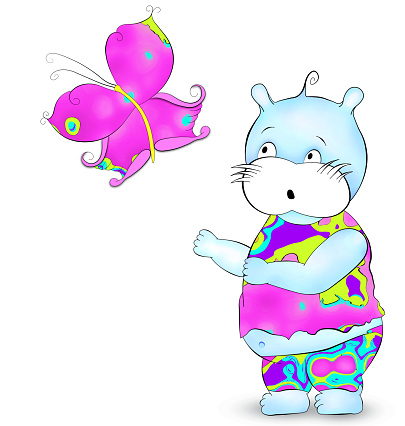 Cute hippie hippo looking at butterfly