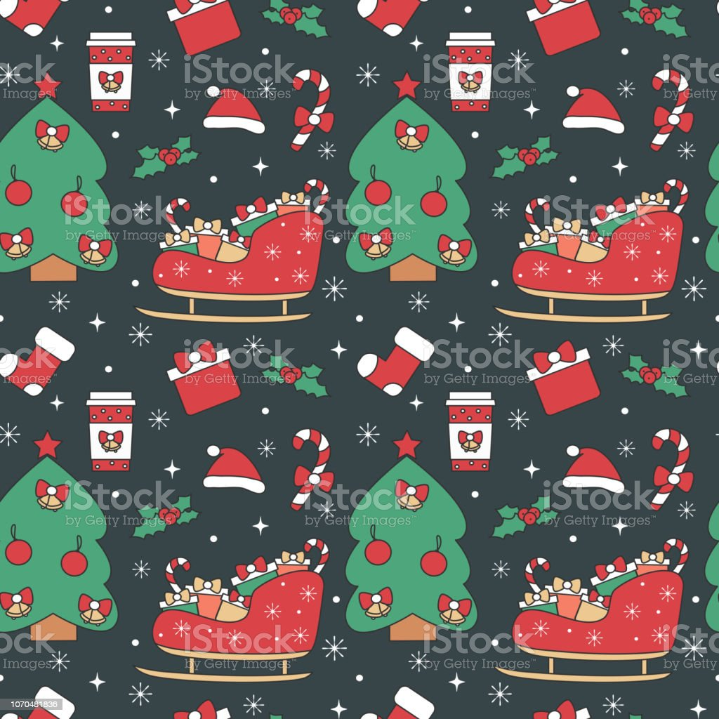 cute holiday seamless vector pattern background illustration with christmas elements vector art illustration