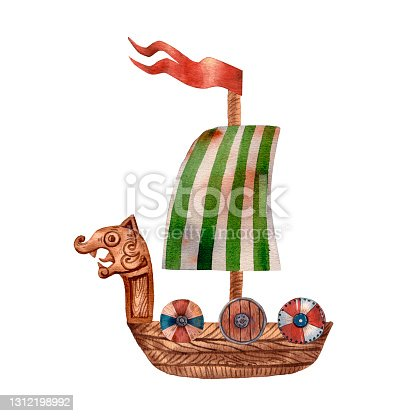 istock Cute illustration of viking drakkar. Ancient scandinavian boat. Old sea transport. Funny cartoon style of illustration. North longship. Wooden warship. Green stripes flag. Wooden drakkar. 1312198992