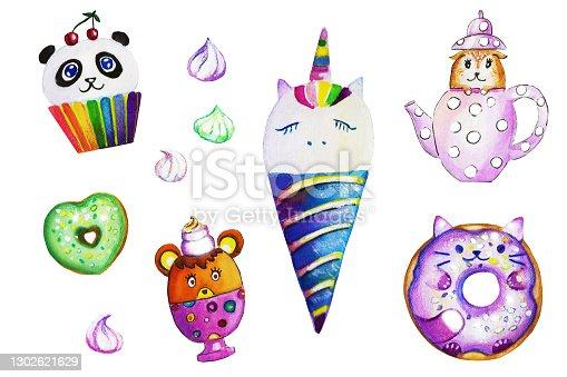 istock Cute Kawaii sweets, unicorn ice-cream, panda cupcake, cat donut 1302621629