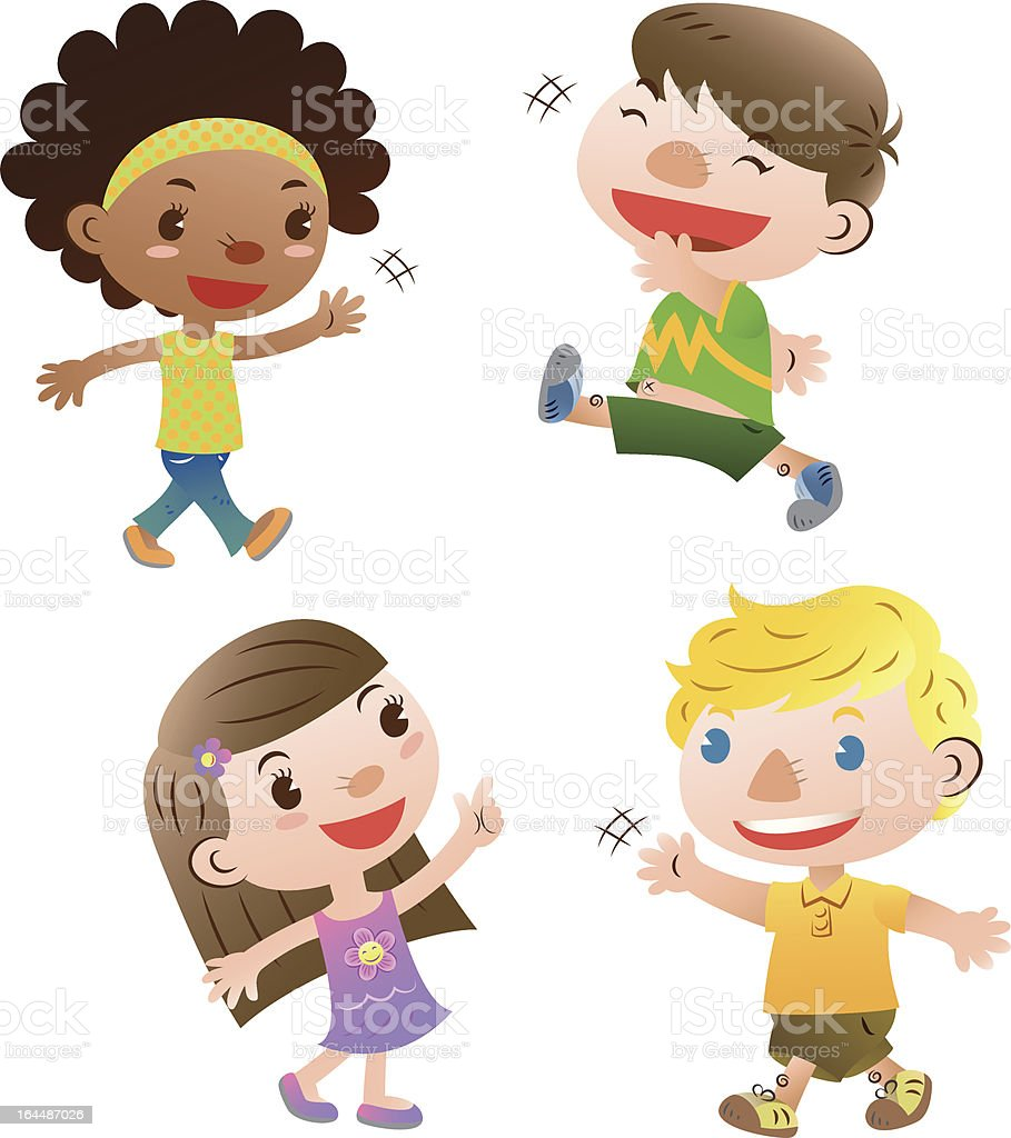 cute kids vector art illustration