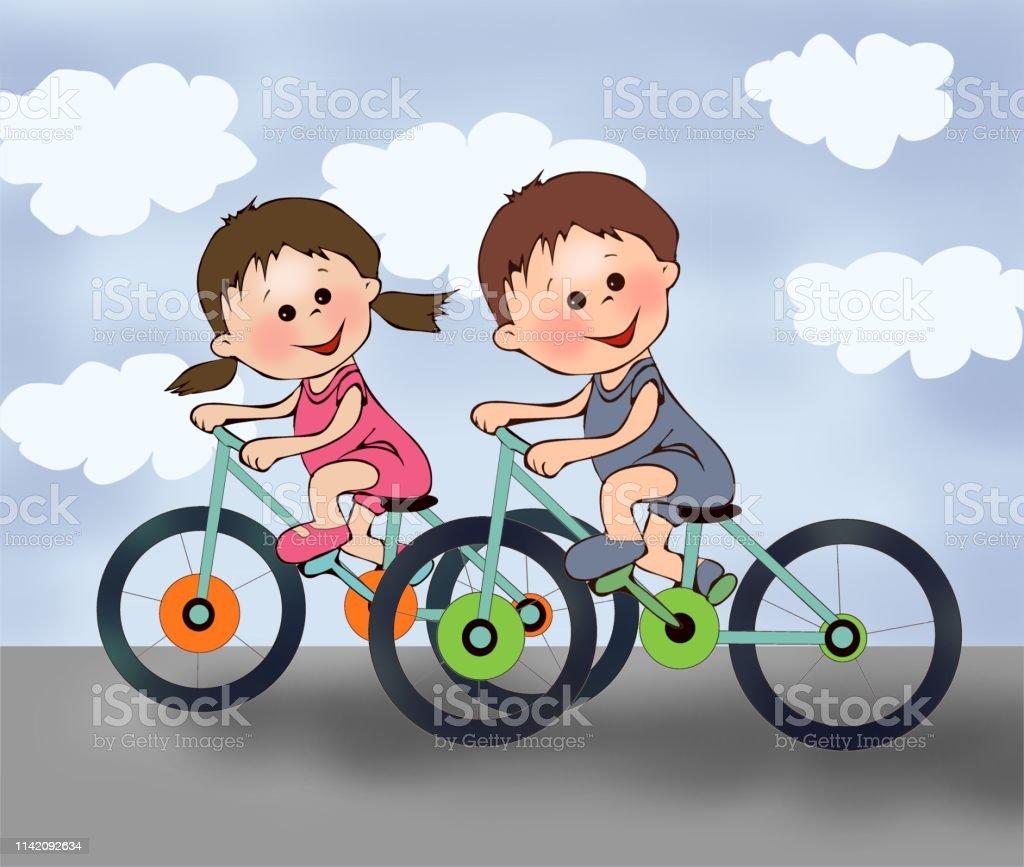 Bisiklet Surme Sevimli Cocuklar Sevimli Kiz Erkek Spor Cocuk Sporu