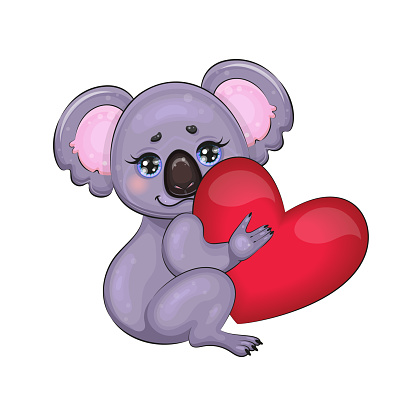 Cute Koala Bear Character With Love Heart. Animals and Nature Protection Concept. Happy Valentine Day