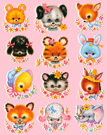 Cute Little Animals on Pink Background