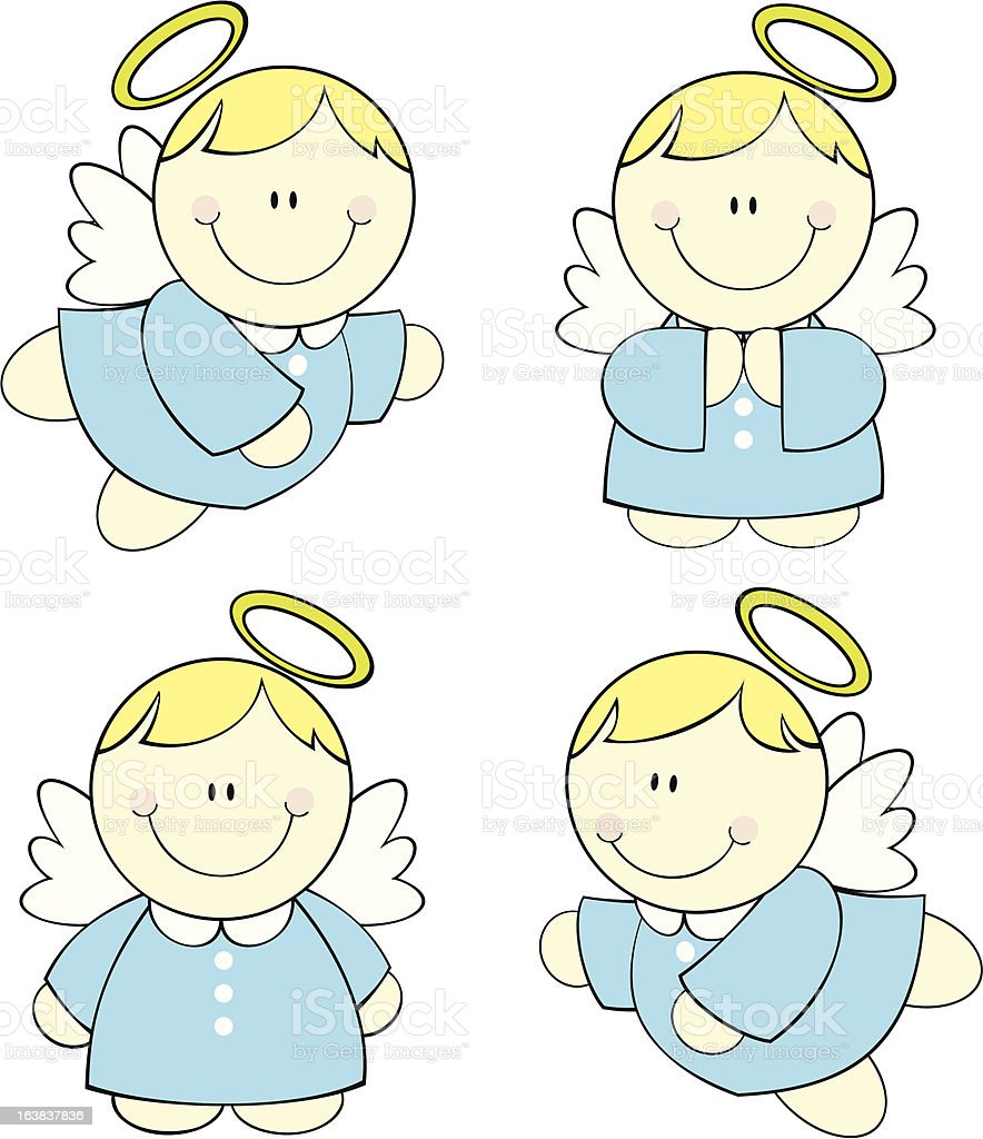 cute little baby angels vector art illustration