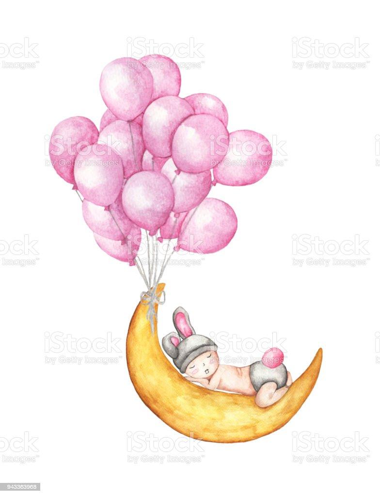 Süße Kleine Baby Schläft Auf Dem Mond Mit Rosa Luftballons Fliegen ...