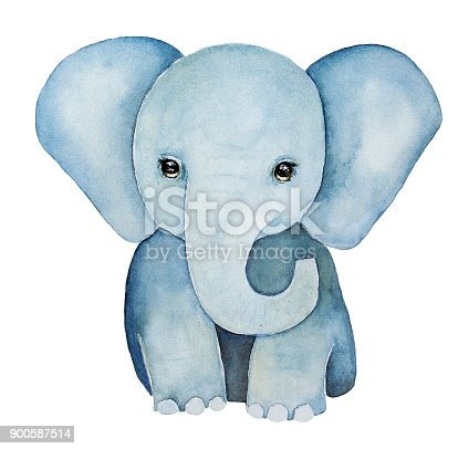 Huge ears, lovely eyes, grey blue colours, front view. Baby t-shirt print, childhood element. Hand drawn water color illustration, isolated, white background.