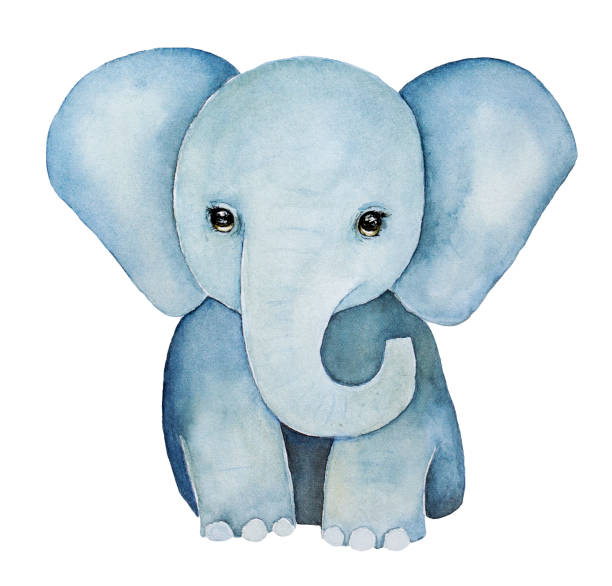 cute little one, baby elephant painting. - elephant stock illustrations