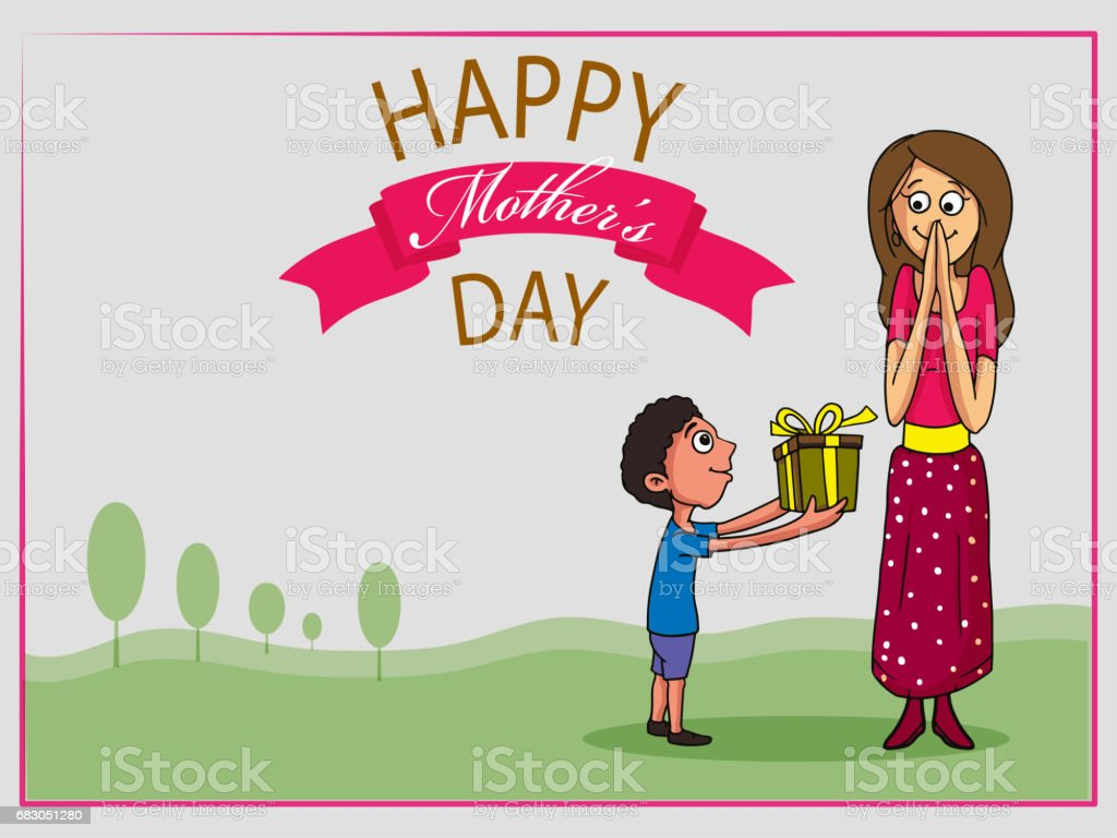 Cute little son giving gift to his mother on occasion of Happy Mother's Day. Greeting card design with nature view background. cute little son giving gift to his mother on occasion of happy mothers day greeting card design with nature view background - arte vetorial de stock e mais imagens de adulto royalty-free