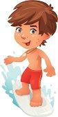 """""""Cute little Surfer Boy, Vector Cartoon"""""""