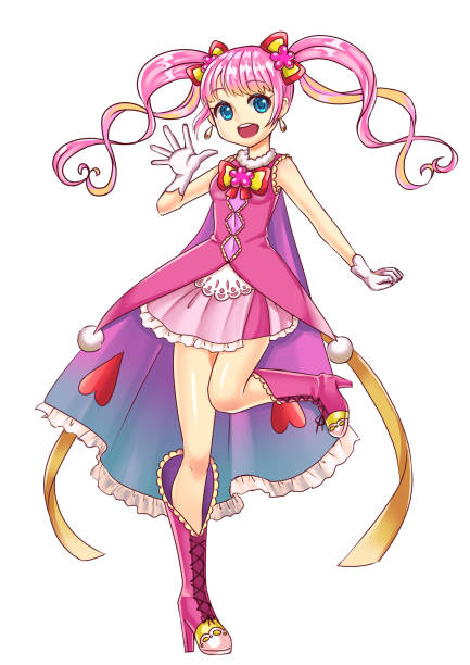 cute magical girl - anime girl stock illustrations