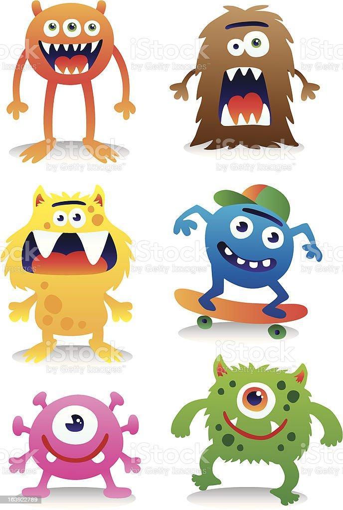 Cute monster vector set vector art illustration