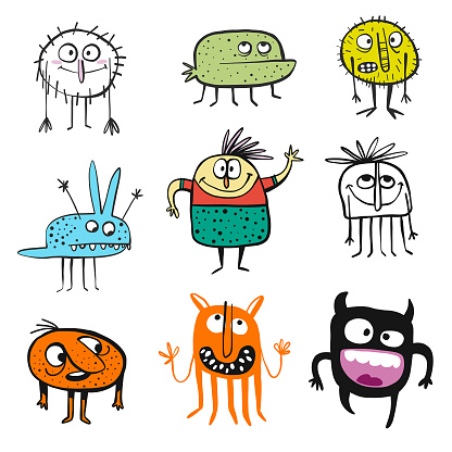 Cute monsters and cartoon characters