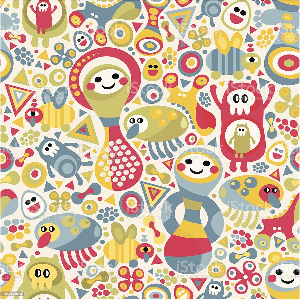 Cute monsters seamless texture. royalty-free stock vector art