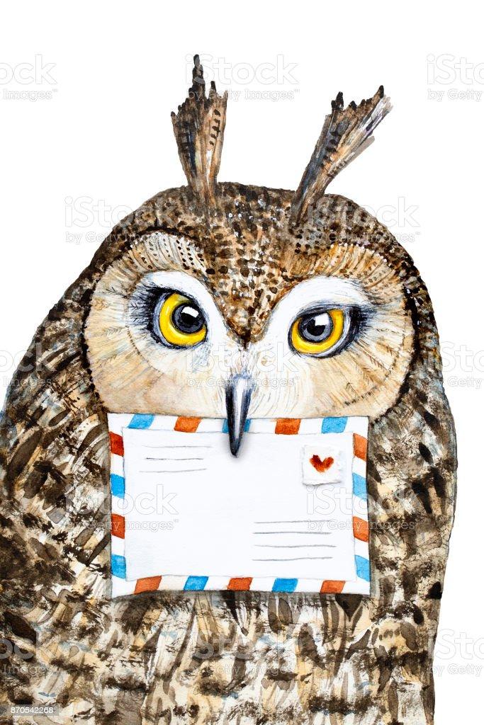 Retrato lindo buho con ojos grandes, sosteniendo en el pico un sobres de correo. Carácter de oficina de correos de buho. Pintado a mano ilustración Acuarela sobre fondo blanco. - ilustración de arte vectorial