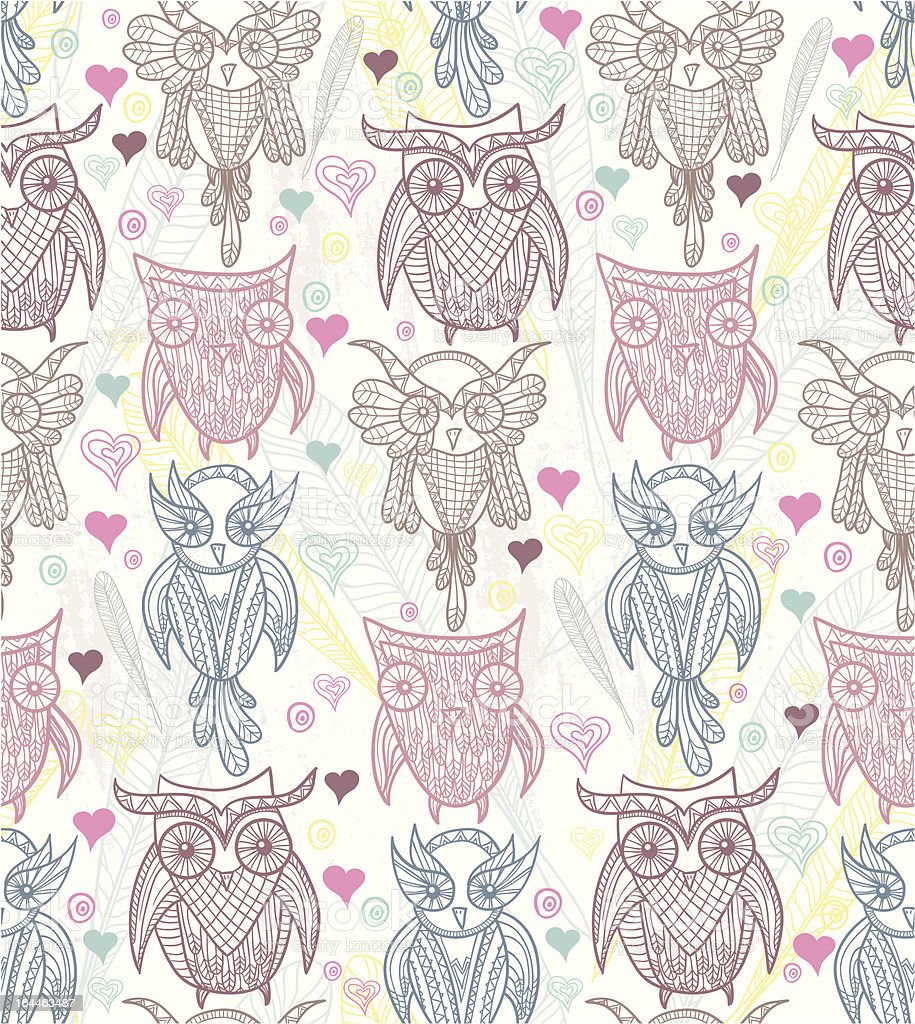 Cute owl seamless pattern royalty-free stock vector art