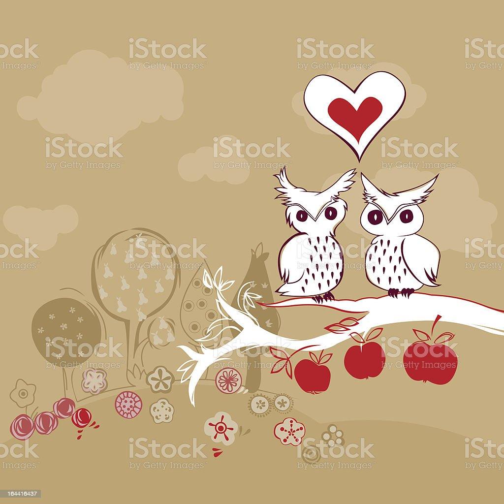 cute owls in love vector art illustration