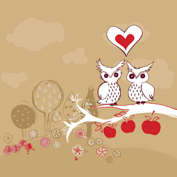 cute owls in love vector art illustration