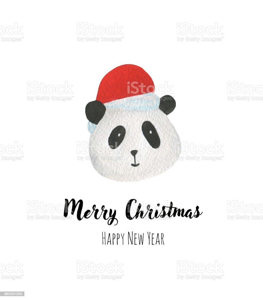 Ilustración de Lindo Panda En Sombrero De Santa y más banco de ...