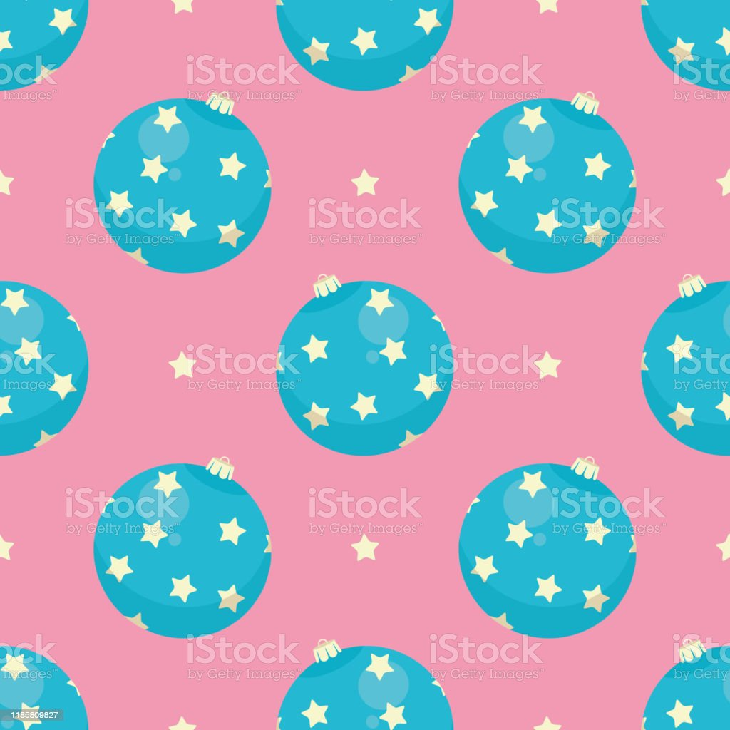 cute pastel colored seamless pattern with blue christmas tree ornament baubles with stars on pink background stock illustration download image now istock https www istockphoto com vector cute pastel colored seamless pattern with blue christmas tree ornament baubles with gm1185809827 334318185