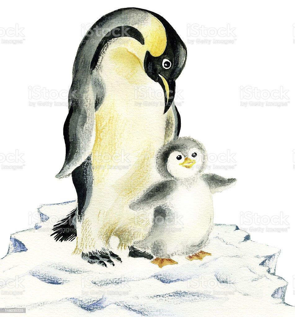 かわいいペンギン 母親と赤ちゃん イラストレーションのベクターアート