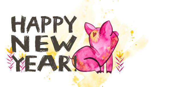 cute pig with creative 2019 new year lettering symbol of the year in the chinese