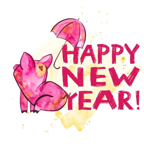 small year clip art vector images illustrations cute pig with creative 2019 new year lettering symbol of the year in the chinese