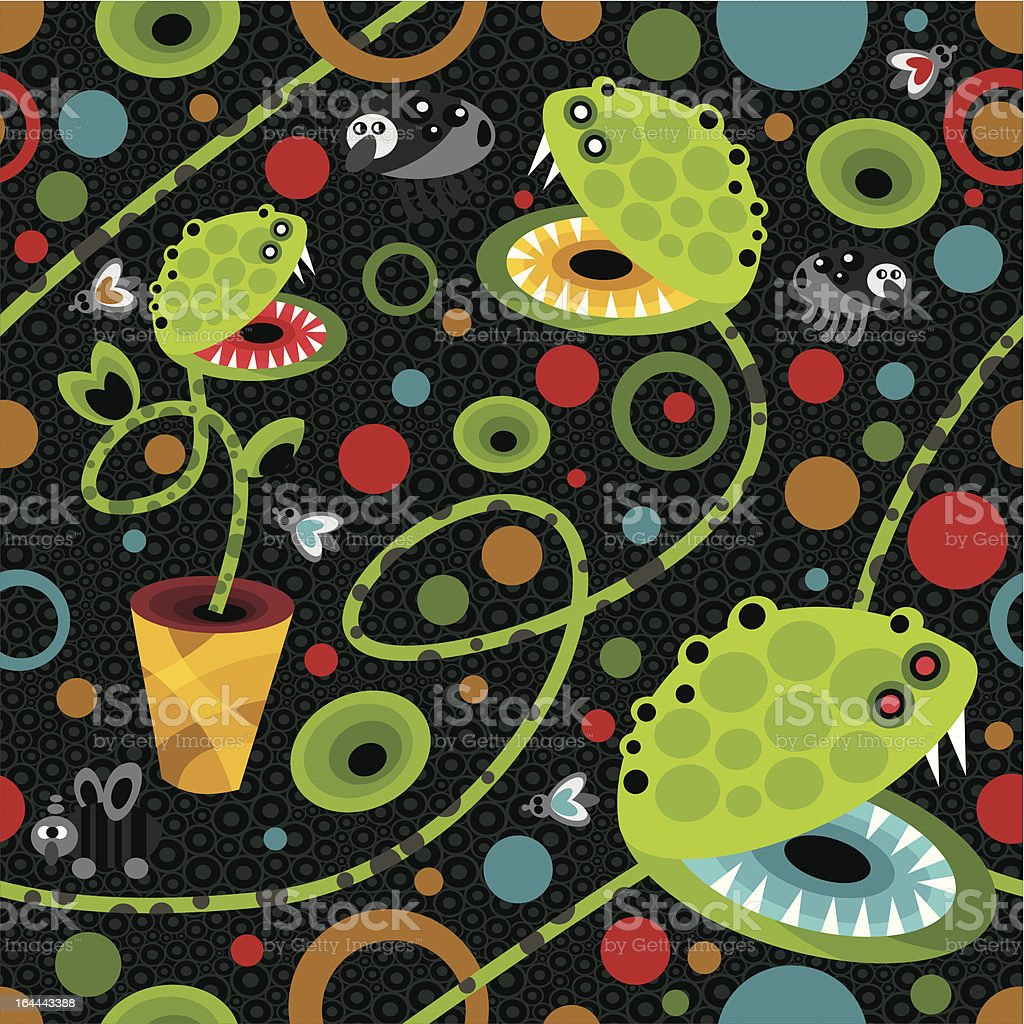 Cute plant monsters texture. royalty-free stock vector art