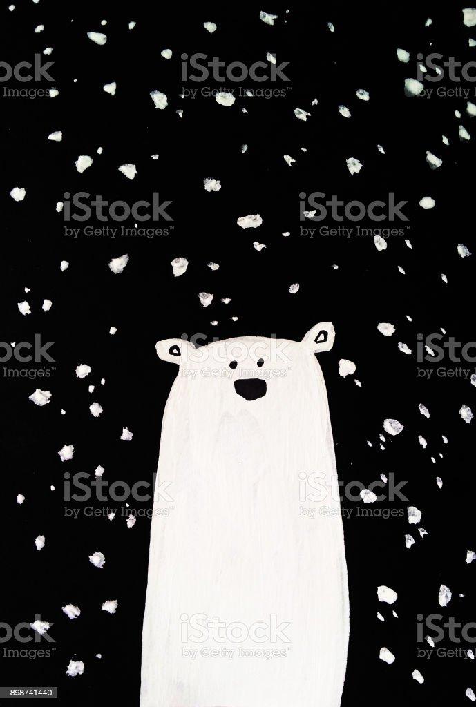 Cute polar bear, hand drawn watercolor illustration vector art illustration