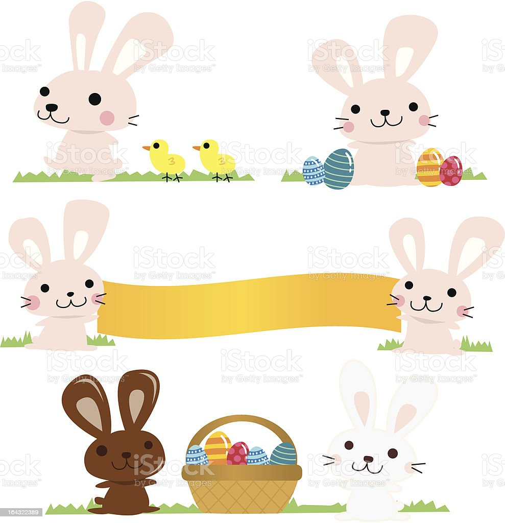 Cute Rabbits celebrating Easter royalty-free cute rabbits celebrating easter stock vector art & more images of animal