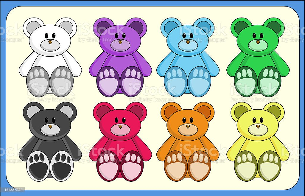 Cute Rainbow-coloured Bears (vector) royalty-free cute rainbowcoloured bears stock vector art & more images of animal