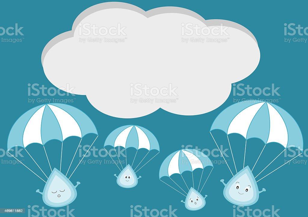 Ilustración de Linda Gota De Lluvia Con Paracaídas Ilustración ...