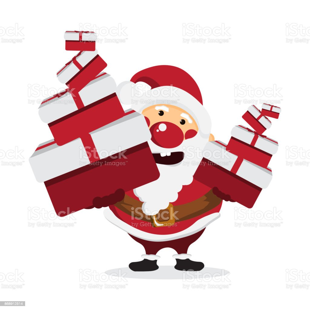 Cute Santa Claus Cartoon With Gift And Merry Christmas On White ...