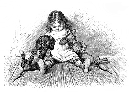 Cute scene with sleeping small girl and two dachshunds - 1896