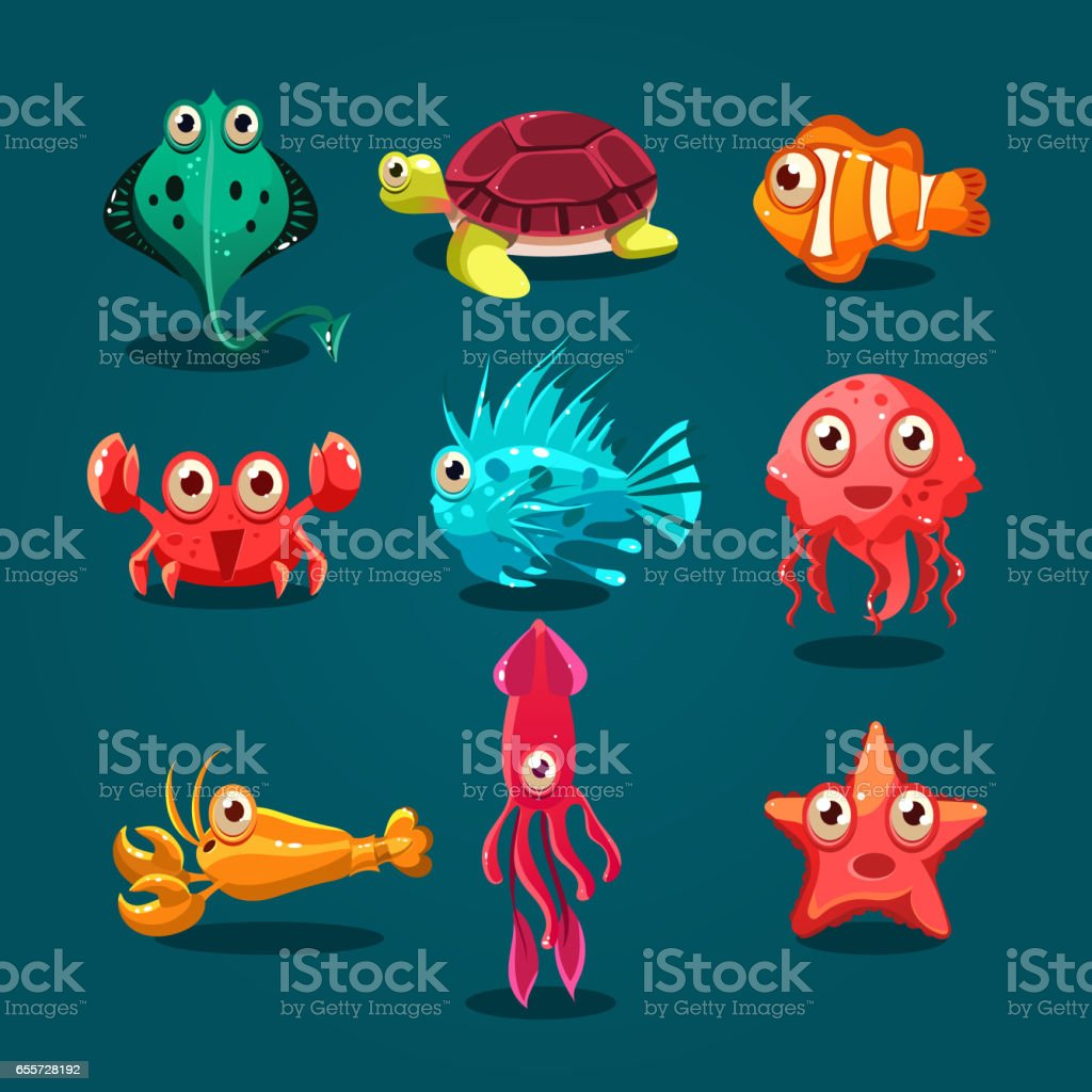 Cute sea life creatures cartoon animals set with fish octopus...